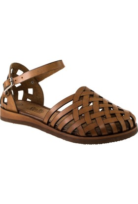 Stella 8002 Tek Bant Taba Kadın Sandalet