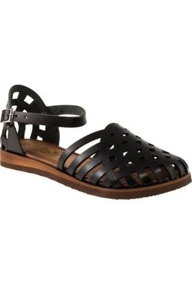 Stella 8002 Tek Bant Siyah Kadın Sandalet