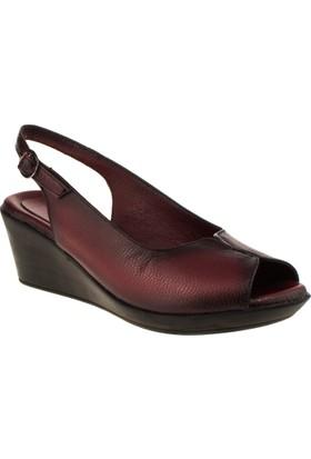 Cute 1015 Tek Bant Hakiki Deri Bordo Kadın Sandalet