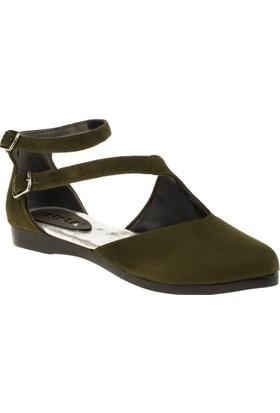 İnna 01135 Çift Bant Haki Kadın Ayakkabı