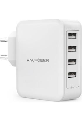 RavPower Duvar Şarj Cihazı 4xUSB - 8000mA - Beyaz