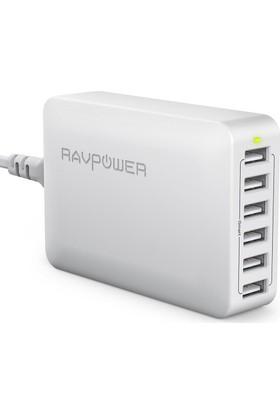 RavPower Masaüstü Şarj Cihazı 6xUSB - 12000mA - Beyaz