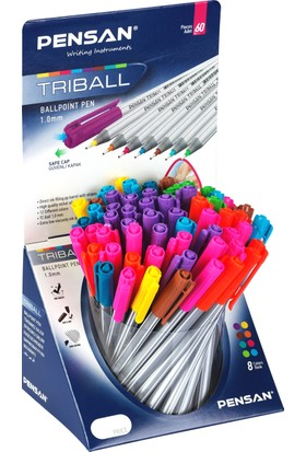 Pensan Trıball Tükenmez Kalem Renkli 60 Lı Stand