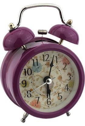 Hunga Metal Alarmlı Masa Saati Mor Renk