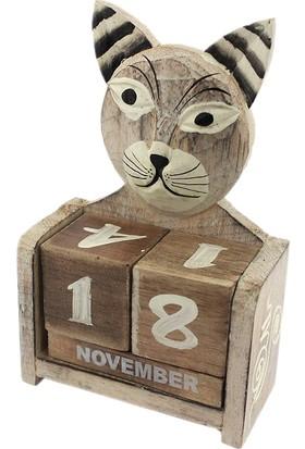 Hunga Ahşap El Yapımı Kedi Takvim Orta Boy