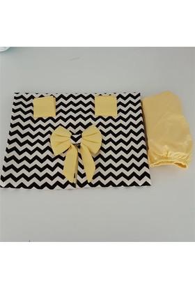 Modastra Siyah Beyaz Zigzaglı Sarı Desenli Puset Örtüsü + İç Kılıf