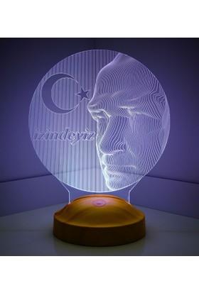 Sevgi Lambası 3 Boyutlu Atatürk 3D Büst LED Lamba