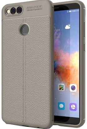 CoverZone Huawei Honor 7X Deri Görünümlü Silikon Kılıf - Antrasit