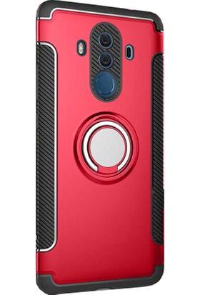 CoverZone Huawei Mate 9 Yüzüklü Çift Katmanlı Standlı Kapak Kılıf - Kırmızı