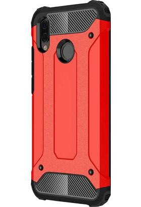 CoverZone Huawei P20 Lite Shockproof Zırh Koruma Kılıf - Kırmızı