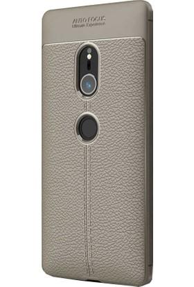 CoverZone Sony Xperia XZ2 Deri Görünümlü Silikon Kılıf - Antrasit