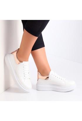 Pembe Potin Alessandra Beyaz Rose Kadın Ayakkabı