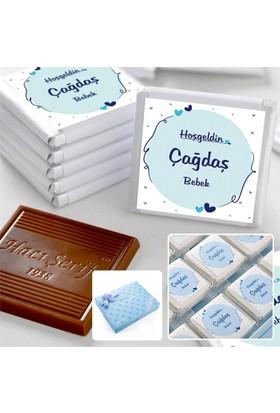 Hacı Şerif Kişiye Özel İsimli Erkek Bebek Çikolatası (72 Madlen Çikolata + Sunum Kutusu)