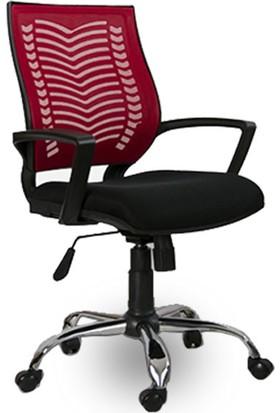 Mobilyanoktası Ofis Koltuğu Çalışma Koltuğu Ofis Sandalyesi Kırmızı Metal