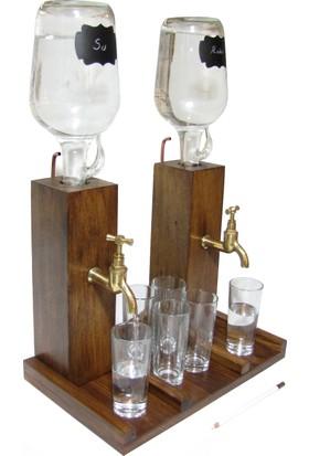 Masif Ahşap Masa Üstü İçki Dispenser Karaf