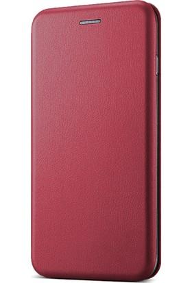 Microsonic Samsung Galaxy C5 Kılıf Ultra Slim Leather Design Flip Cover Bordo