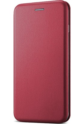 Microsonic Samsung Galaxy Grand Prime Plus Kılıf Ultra Slim Leather Design Flip Cover Bordo