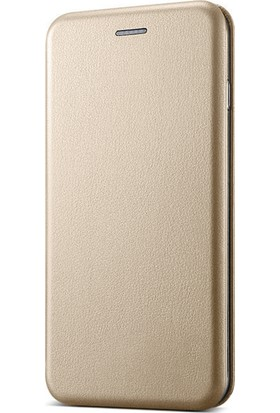 Microsonic Samsung Galaxy J5 Pro Kılıf Ultra Slim Leather Design Flip Cover Gold