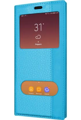 Microsonic Samsung Galaxy A8 Plus 2018 Kılıf Dual View Gizli Mıknatıslı Mavi