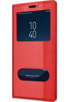 Microsonic Samsung Galaxy C8 Kılıf Dual View Gizli Mıknatıslı Kırmızı