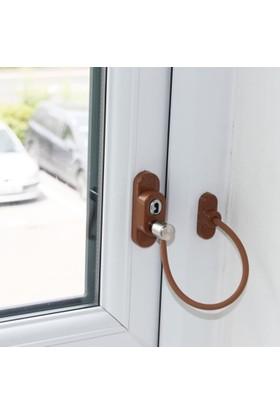 Penkid Kablolu Pvc Pencere Emniyet Kilidi Açık Kahve
