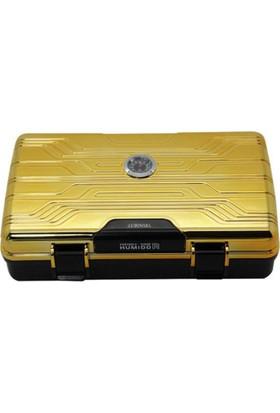 Lubinski Polikarbon Seyahat Humidoru Puro Kutusu 10Cigar Gold