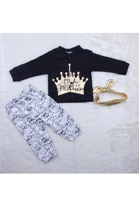 Beyaz Bebek Taçlı Varak Baskılı Prenses 3'lü Takım 1050 Siyah
