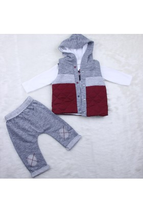 Hıppıl Baby Erkek Şişme Yelekli 3'lü Takım 1061 Bordo