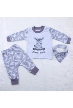 Elci Baby Zebralı 3'lü Erkek Takım 19140044 Gri