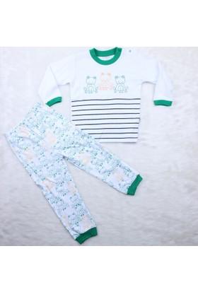 Minidamla Kurbağalı Pijama Takımı A11192 Yeşil