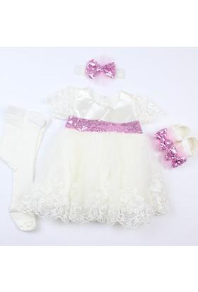 Pegu Pugi Bgo4 Krem Bebek Özel Gün Elbisesi