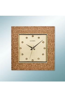 Ultima 1370 Ap Kahverengi Köşeli Taşlı Kadran Duvar Saati