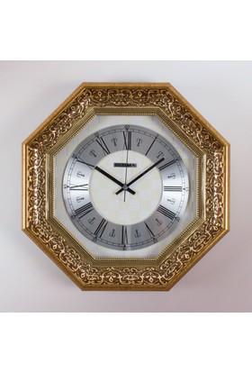 Ultima 1398 Gıs Sarı Relief Desen 8 Köşeli Duvar Saati