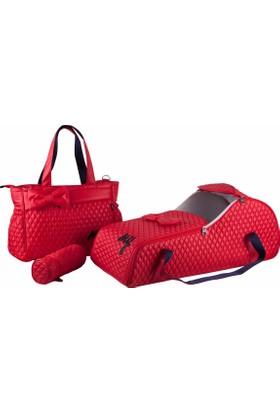 M&Y Collection Puf Portbebek Taşıma Seti 068 2 Kırmızı
