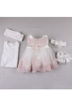 Cottondays Dantenli Mevlüt Kız Elbise 10097 Pembe