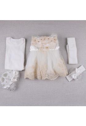 Cottondays Dantenli Mevlüt Kız Elbise 10098 Sarı