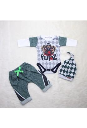 Jikko Baby Köpek Baskılı 3'lü Takım 1027 Yeşil