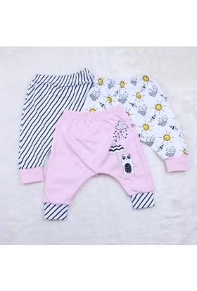 Baby Cool Şemsiyeli Panda 3'lü Rıbanlı Tek Alt 19549 1 Pembe