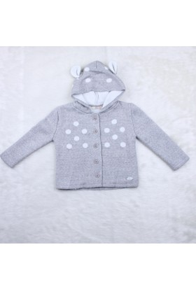 Baby Mio Patili Kapüşonlu Hırka 7K021003 Açık Gri