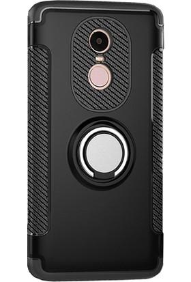 Microcase Xiaomi Redmi Note 4 Yüzük Standlı Armor Silikon Kılıf + Tempered Cam