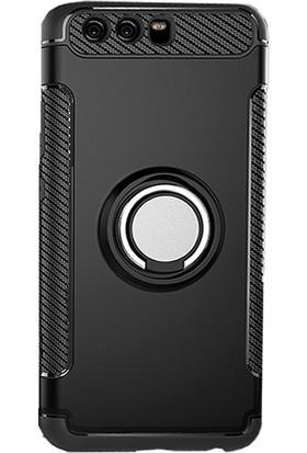 Microcase Huawei P10 Yüzük Standlı Armor Silikon Kılıf + Tempered Cam