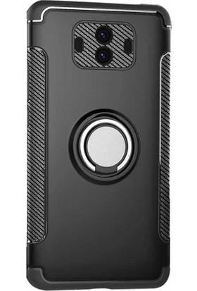 Microcase Huawei Mate 10 Yüzük Standlı Armor Silikon Kılıf + Tempered Cam