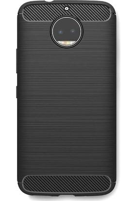 Microcase Motorola Moto G5 Plus Brushed Carbon Fiber Silikon Kılıf + Tempered Cam