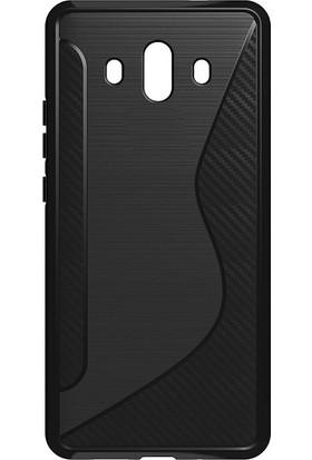 Microcase Huawei Mate 10 Carbon S Line Silikon Kılıf + Tempered Cam