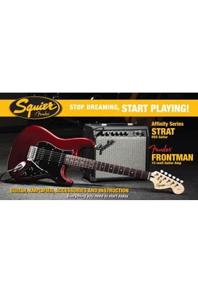 Squier Affinity Series Set Strat HSS Frontman 15G Amp Candy Apple Red Elektro Gitar Seti