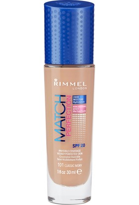 Rimmel London Match Perfection Fondöten 101 Classic Ivory