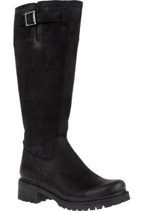 Shalin Greyder Hakiki Deri Kadın Çizme Gry 02126 Siyah Nubuk