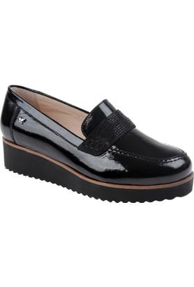 İloz Hakiki Deri Kadın Ayakkabı Snj 105654 Siyah Rugan