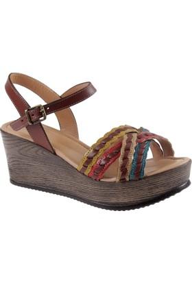 İloz Hakiki Deri Kadın Sandalet Snj 441258 Kahverengi