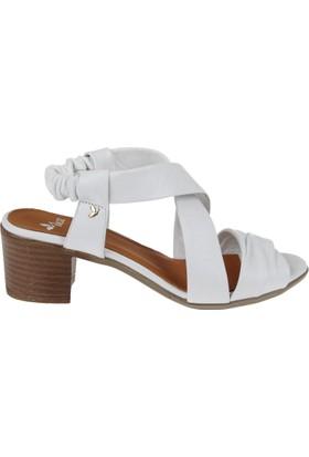 İloz Hakiki Deri Kadın Sandalet Snj 430001 Beyaz